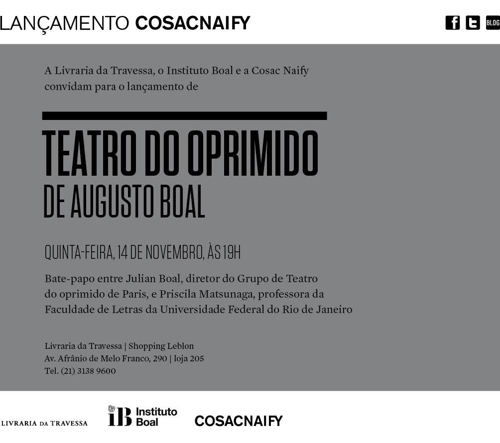 Lançamento da Nova Edição do Teatro do Oprimido de Augusto Boal pela Cosac Naify