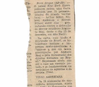 Arthur Miller protesta por Augusto Boal