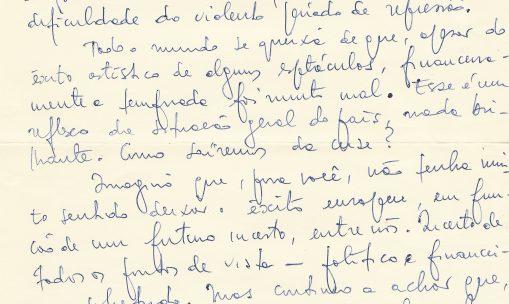 Carta de Sábato Magaldi para Augusto Boal