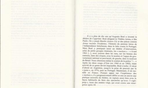 Capítulo do livro de Bernard Dort com crítica ao Teatro Fórum
