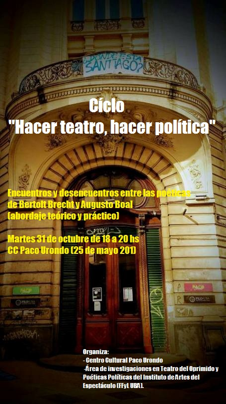 """Evento """"Encuentros y desencuentros entre las poéticas de Bertolt Brecht y Augusto Boal """" em Buenos Aires"""