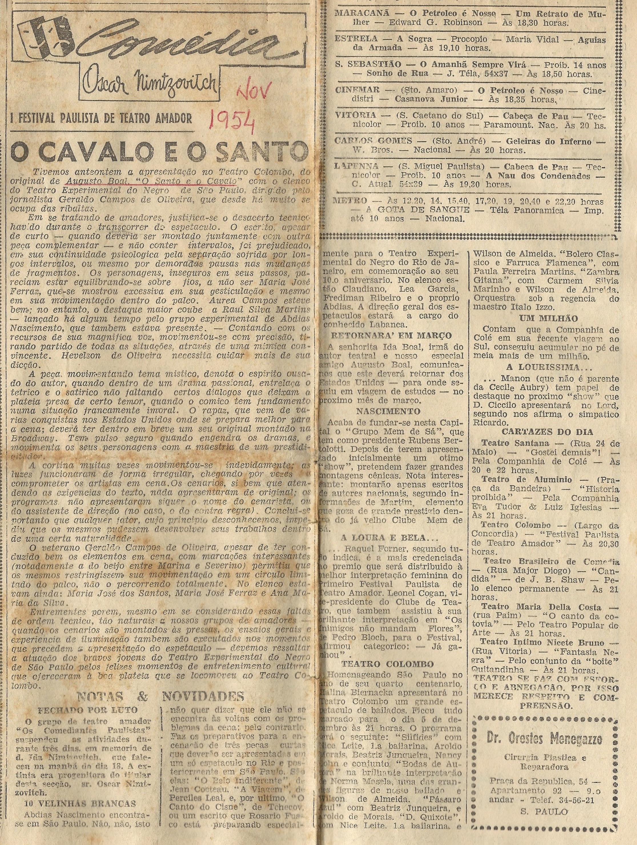 """""""O cavalo e o santo"""" e o Teatro Experimental do Negro"""