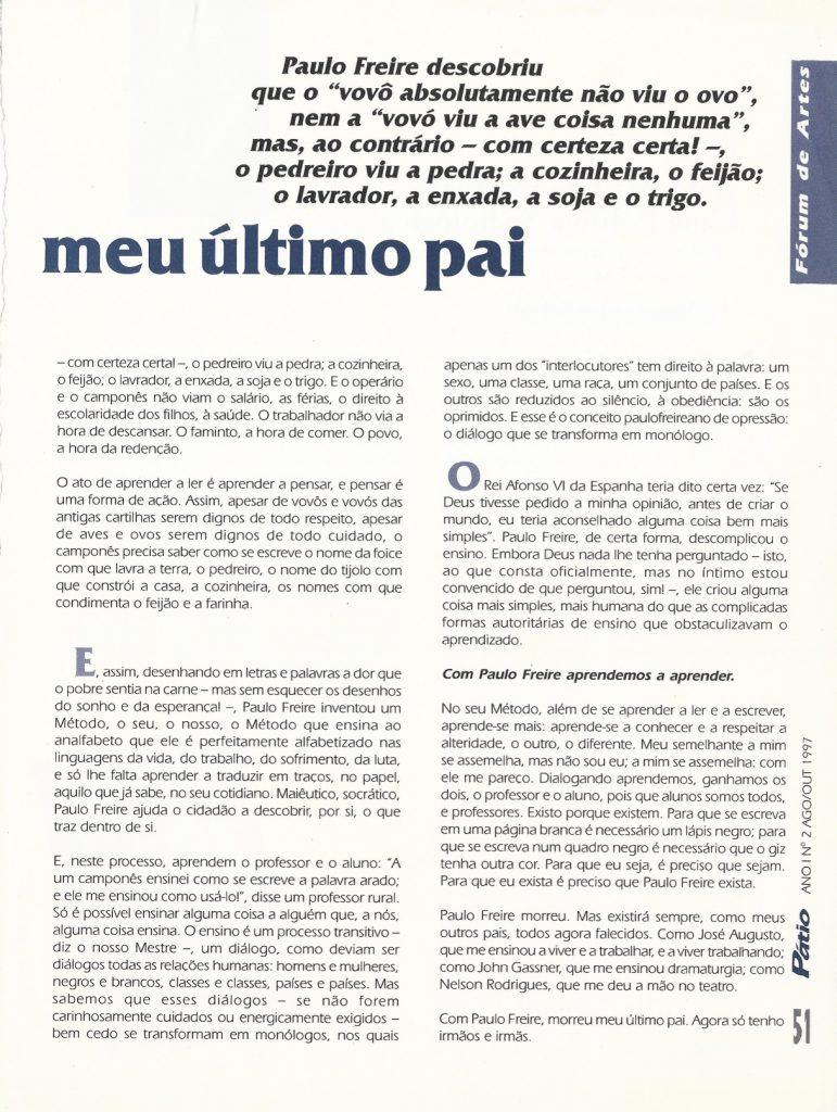 Freire e Boal – uma conexão afetiva